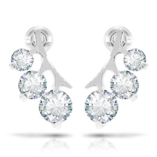 Three Stone Branch Earrings - Silver