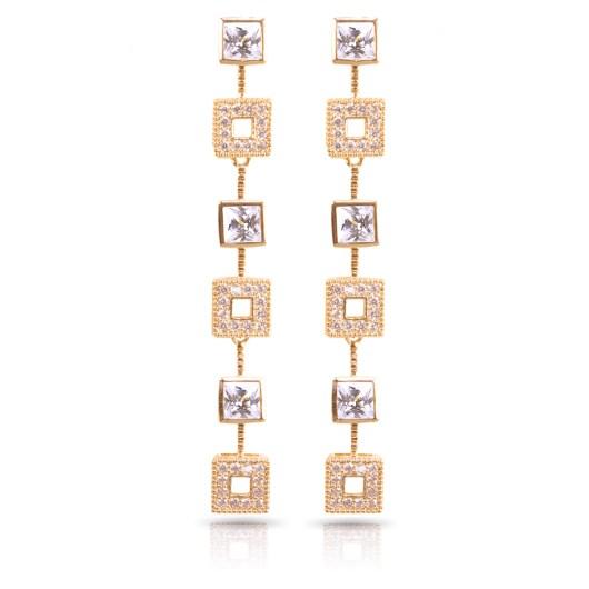Squares Long Earrings - Gold
