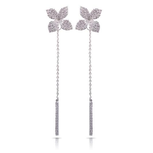 Flower w/ Drop Bar Long Earrings - Silver