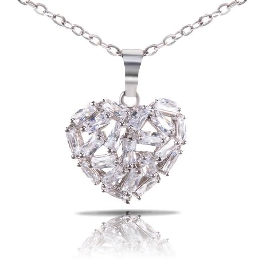 Baguette Heart Necklace - Silver