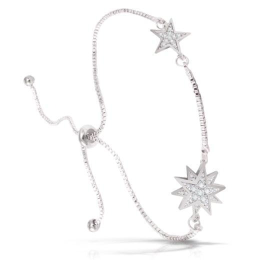 Two Stars Adjustable Bracelet - Silver