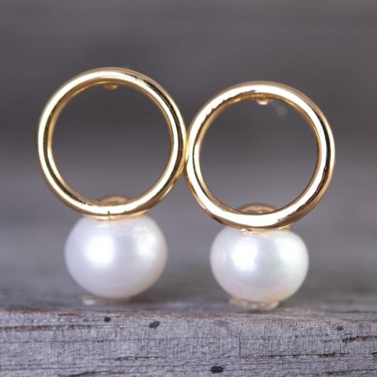 Flat Hoop Pearl Drop Earrings - Gold