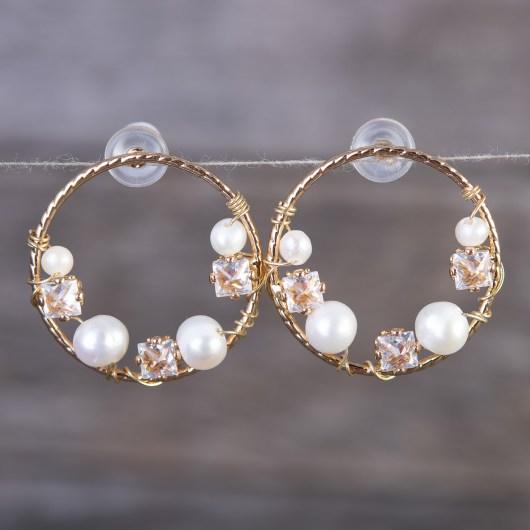 Multi Wrapped Pearl Flat Hoop Earrings - Gold