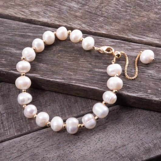 Spaced Pearl Adjustable Bracelet - Gold