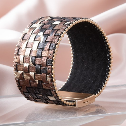 Woven Leather Cuff Bracelet - Brown