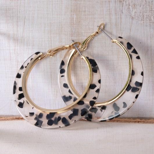 Edge Hoop Earrings - Clear Leopard