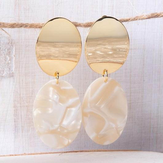 Oval Drop Earrings - Ivory
