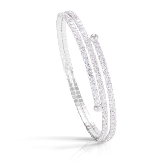 Double Spiral Bracelet - Rhodium
