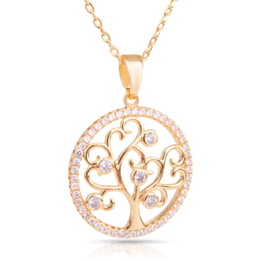 Tree in Circle Necklace - Gold