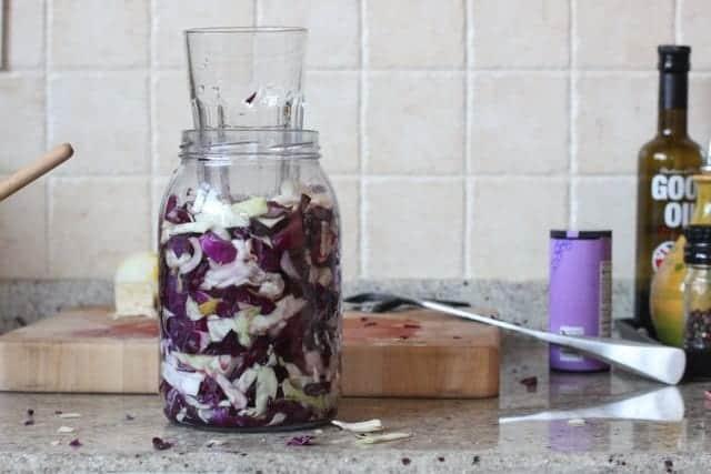 purple pickle with jar