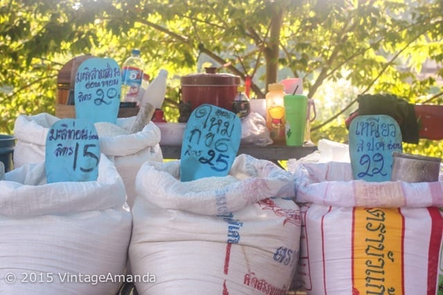 bags of rice at a Thai market