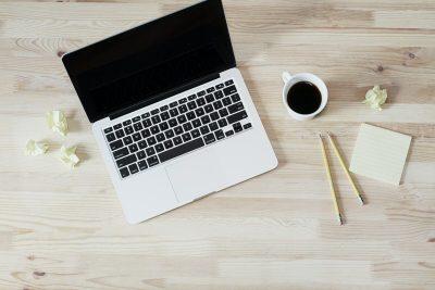MacBook laptop on a desk.