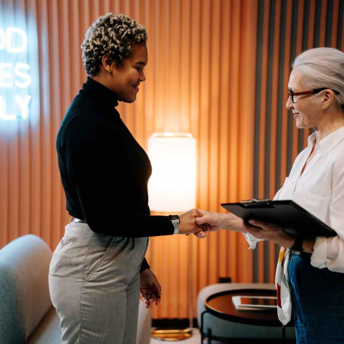 woman in black long sleeve shirt had a job interview