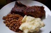 Jan 22, 2012. Oven Barbecue (really slow-baked) Ribs, Baked Beans, Mashed Potatoes.