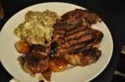 March 11, 2012. Rib-eye steak. Gorgonzola mac and cheese, caramelized cippolini onions.