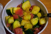 September 13, 2012. Zucchini and tomato sauteed with basil. A new, delicious favorite of ours in the summer and dog days.