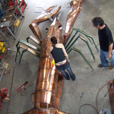 amanda_feher_sculpture_public_art_Ray_The_Cray_Copper_in_progress1