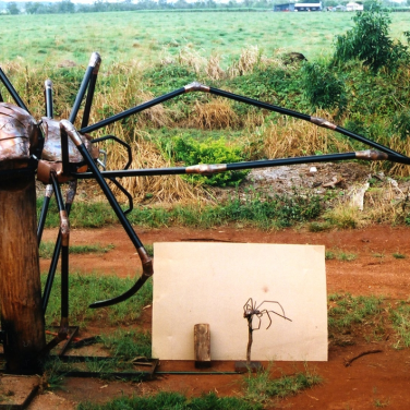 amanda_feher_sculpture_public_art_Oralia_spider_pioneer_park_Townsville_City_Council_Finished_at_Workshop_with_maquette