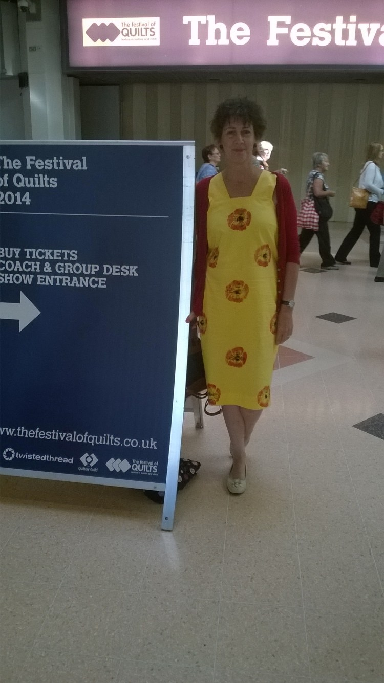 Up-cycled hand-printed dress by Amanda Jane Textiles