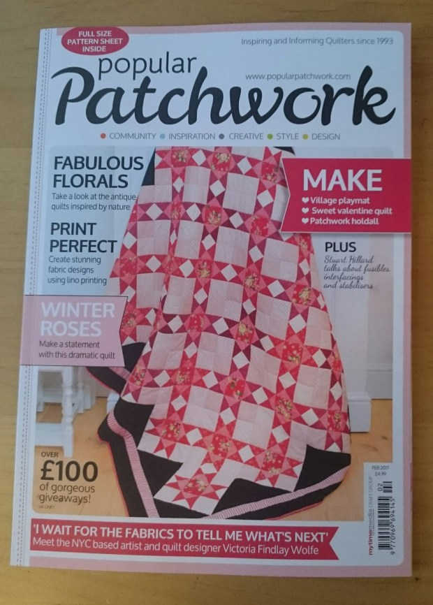 Popular Patchwork magazine cover February 2017, quilt by Amanda Jane Textiles