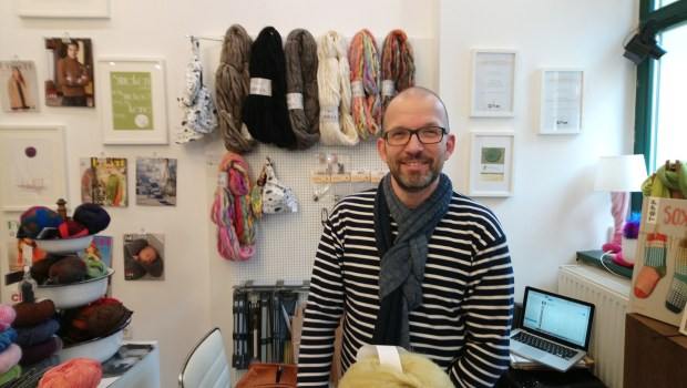 Herr U in hand knitted scarf, Berlin, photo by Amanda Jane Textiles.JPG