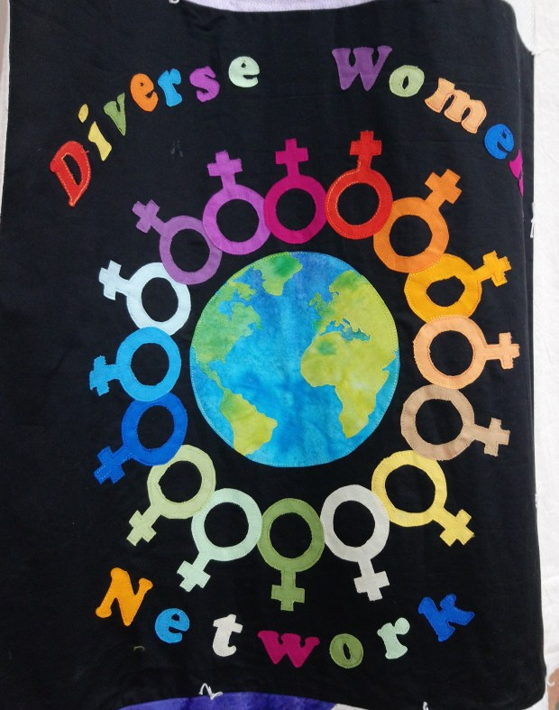 The 'Diverse Women Nework' portion of the Community Banner for the Miners' Gala