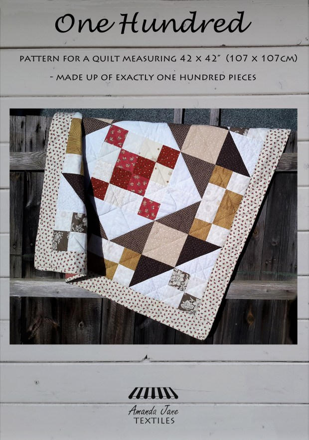 One Hundred lap quilt pattern, cover, by Amanda Jane Textiles