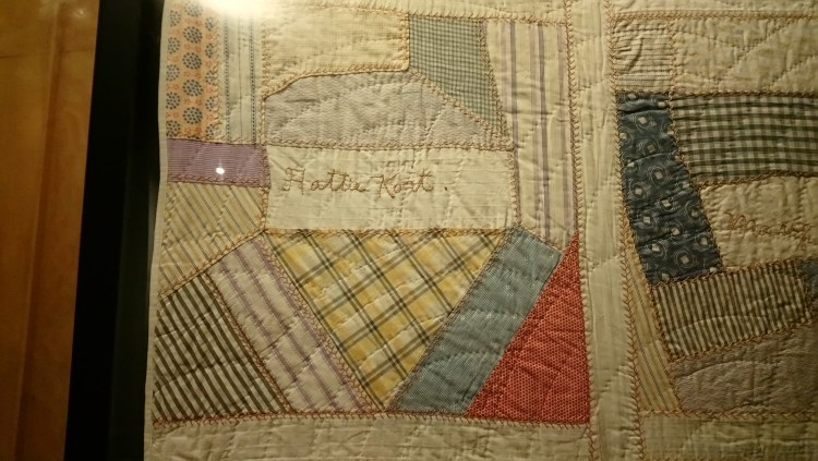Signature on a crazy patchwork signature quilt from the American Museum, Bath
