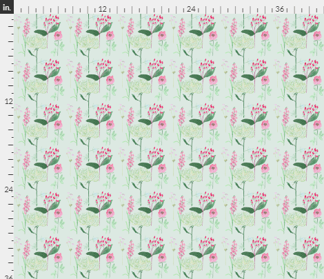 Decorative design of flowers, berries and leaves in pinks and greens on a green background: fabric design by Amanda Jane Textiles