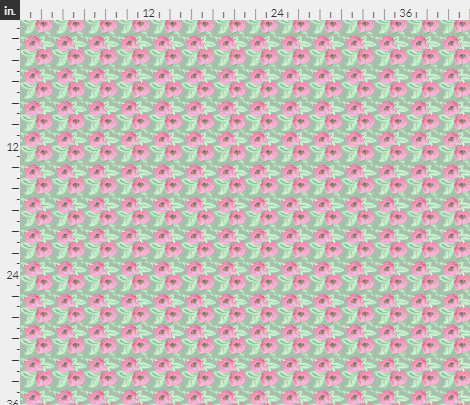 fabric design of pink roses on a green background, by Amanda Jane Textiles
