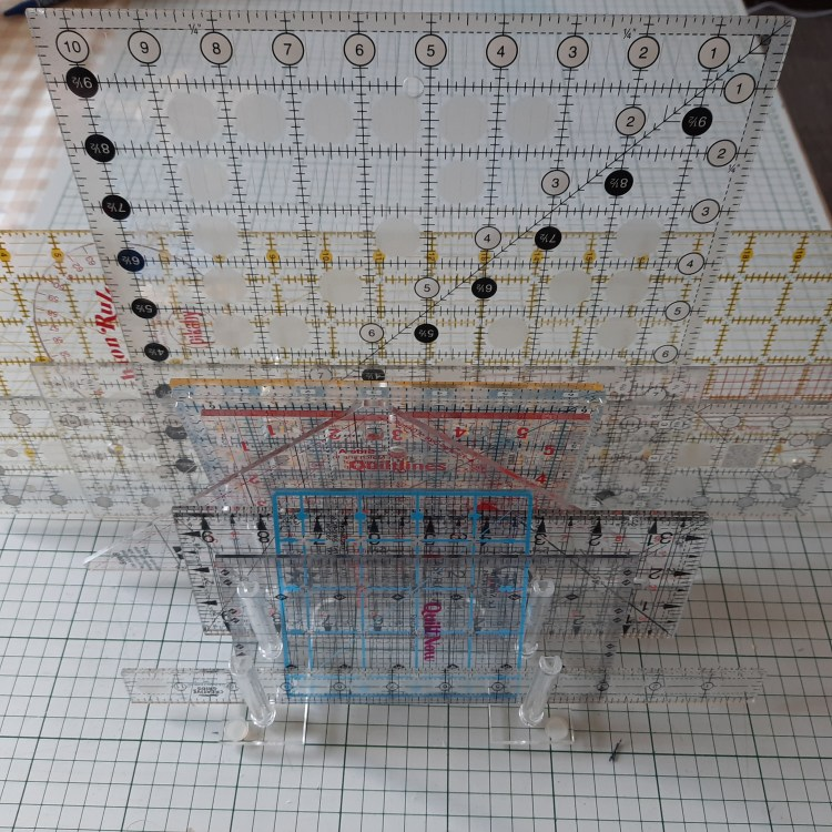 Quilters' rulers in a stand