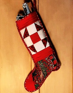 'Jolly Holly' stocking by Amanda Jane Textiles, in use