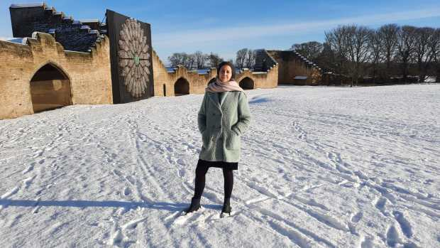 Amanda Jane Ogden walking in the snow at Ushaw