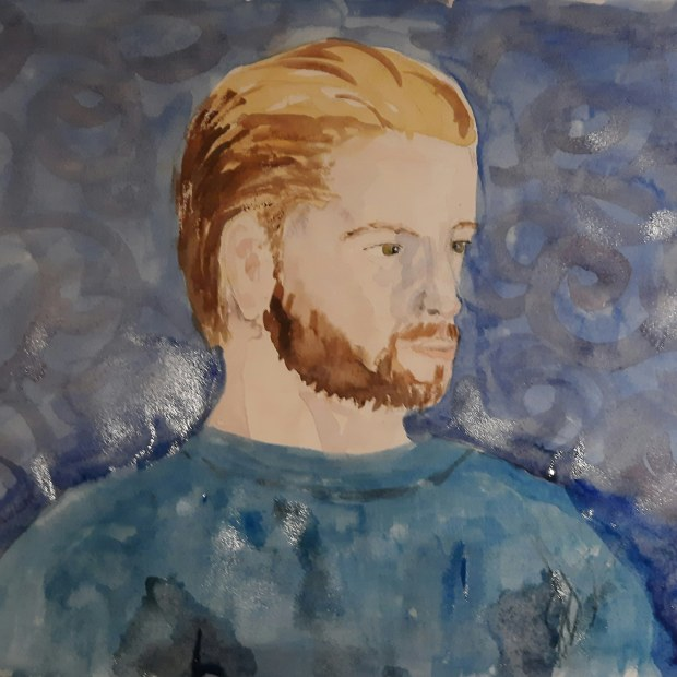 portrait in watercolour of a young man with blond hair and a blue top