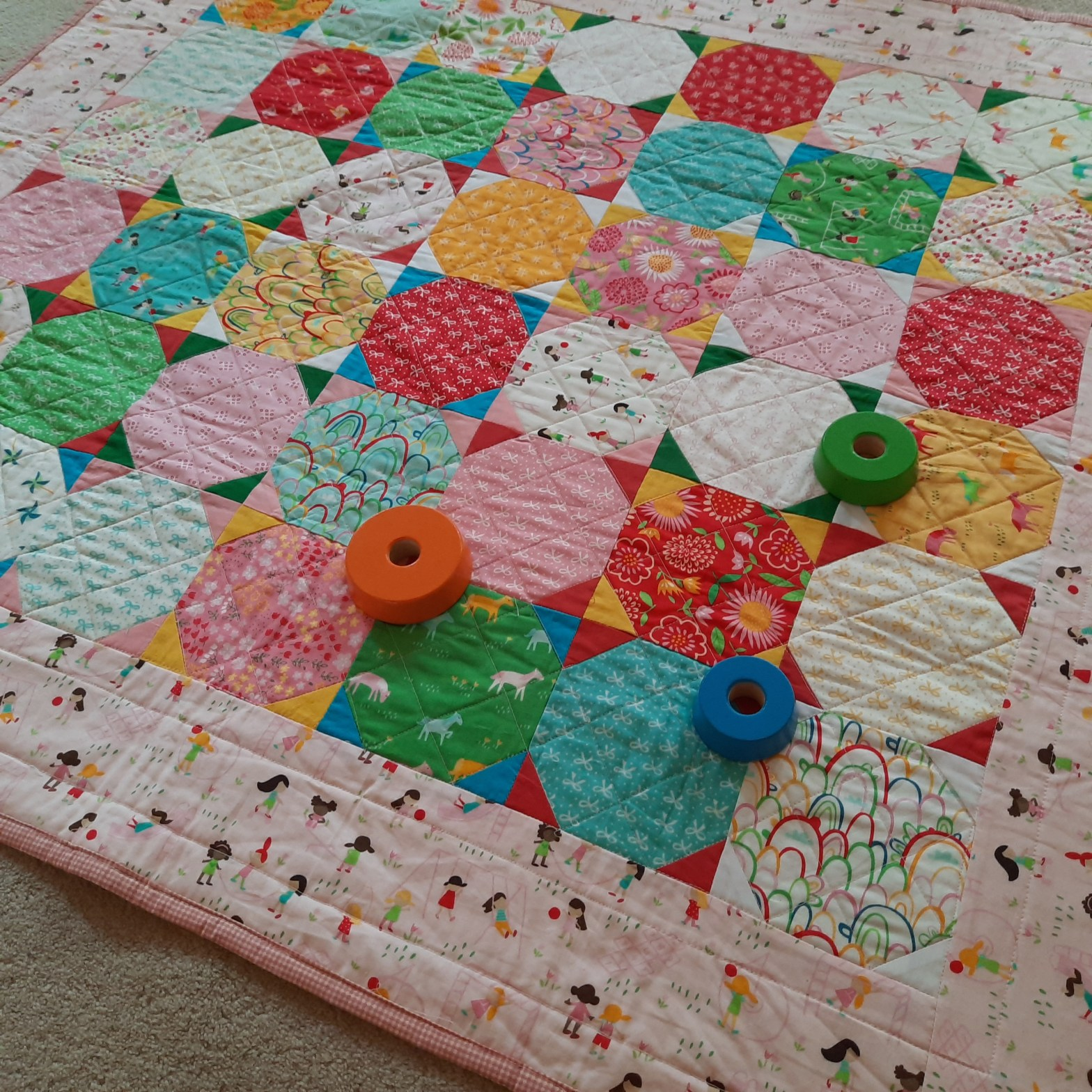 A playmat quilt, 'Playtime' by Amanda Jane Textiles