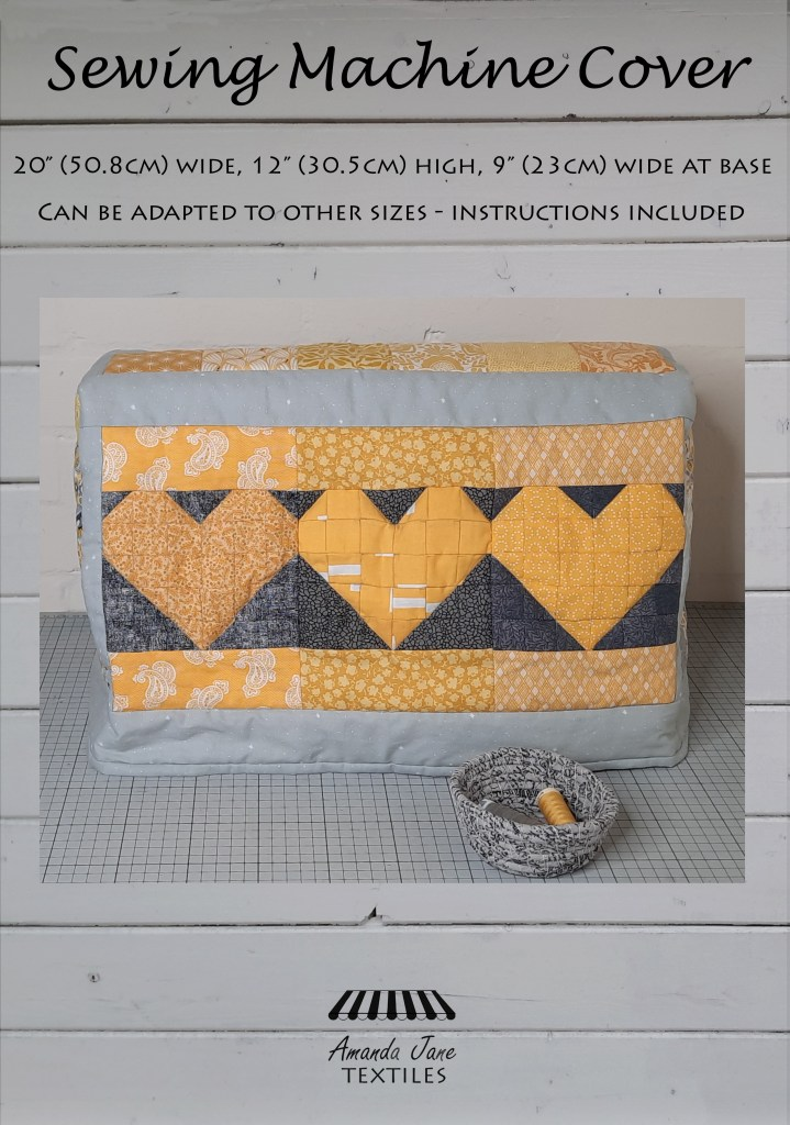 the cover of a pattern for a grey and yellow patchwork sewing machine cover, a new pattern by Amanda Jane Textiles