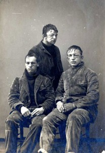'The freshman-sophomore snowball fight of 1892-93 left Darwin R. James, John P. Poe, and Arthur L. Wheeler of the Class of 1895 looking like disconsolate pugilists. Did they sit for this portrait to bear witness to their bravery in battle or to protest the practice of filling snowballs with rocks? No one knows now.'