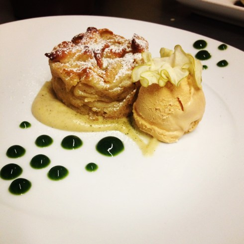 Oven Baked Granny Smith Apple: brown butter financiere and caramel ice cream