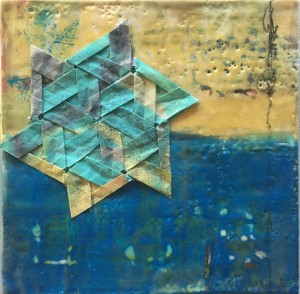 10x10 encaustic painting with tessellation on 1.5″ cradled birch panel $300