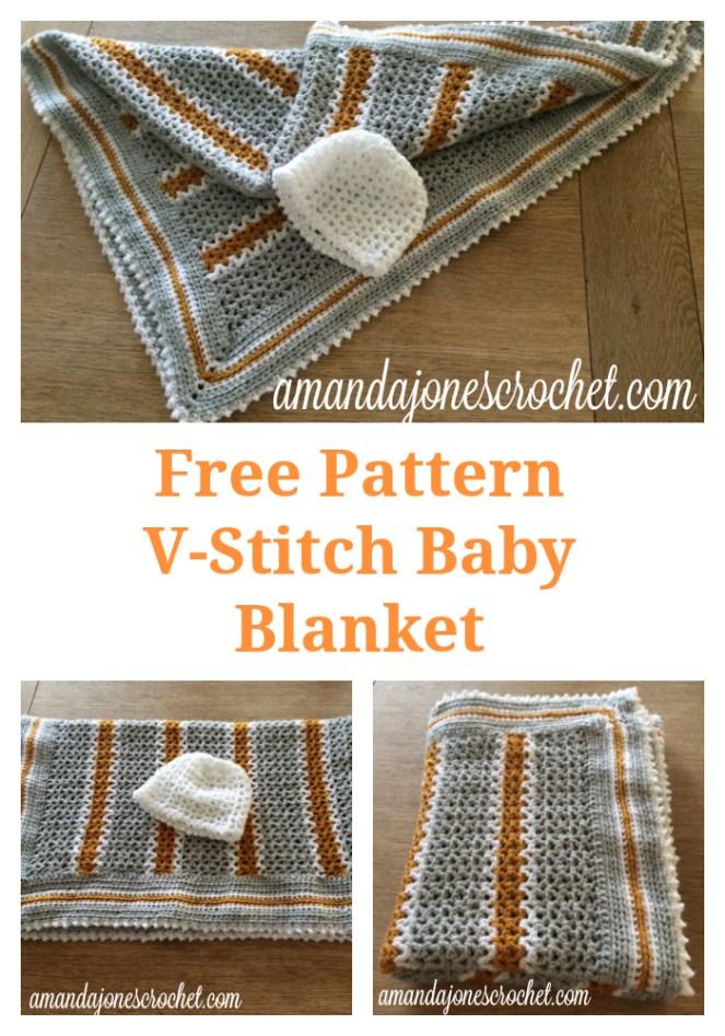 V Stitch Baby Blanket Pattern Amanda Jones Crochet