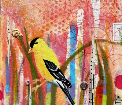 """American Goldfinch"" mixed media on canvas"