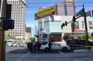 City of Phoenix Police gather at First Avenue and Jefferson Street after an alleged shooting March 18. (LaCasse/AP)