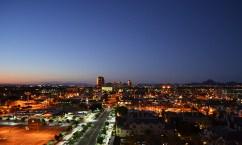 Midtown Phoenix is illuminated by streetlights and sunset hues. (Amanda LaCasse/DD)