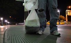 Immigrants are often given paper sacks or plastic trash bags to hold their belongings after being released from detention centers. Read the stories of immigrants who are released from Arizona detention centers at thestation02.businesscatalyst.com. (LaCasse)
