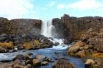 Oxarafoss flows in Thingvellir National Park