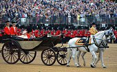 LONDON, ENGLAND - JUNE 13: Queen Elizabeth II and Prince Phillip, Duke of Edinburgh arrive at Horseguards Parade during the annual Trooping The Colour ceremony at Horse Guards Parade on June 13, 2015 in London, England. (Photo by Stuart C. Wilson/Getty Images)