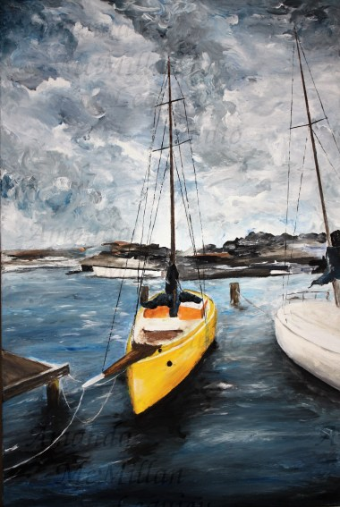 """""""Safe harbor"""": Original acrylic on stretched canvas, 36x24 inches; $300"""