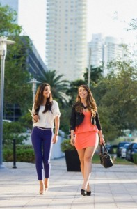 Businesswomen walking to work