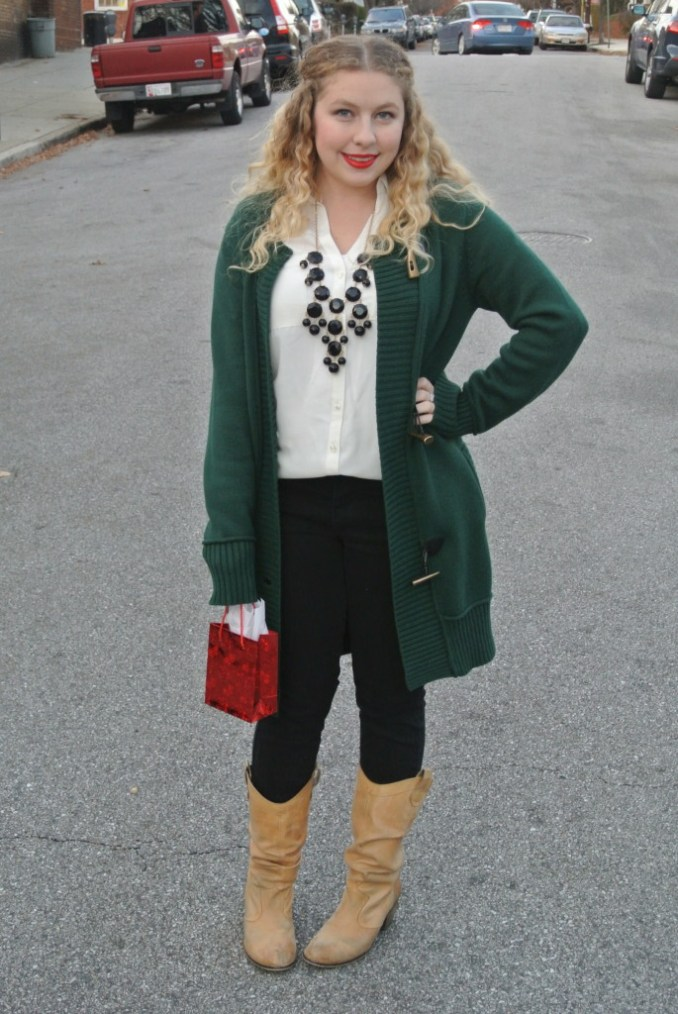 green sweater holiday look
