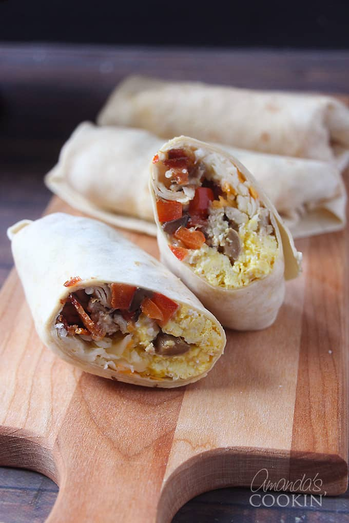 Having these freezer breakfast burritos was a great way to keep my kids fueled up until lunch time. Pop them in the microwave quick and off they went. Simple enough for a fast paced environment.